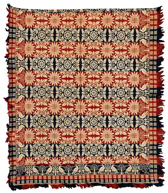 Woven Beiderwand Coverlet, Jacquard, Lilies & Stars Pattern, Bird & Bush Border, 1836 Elizabethtown, Pennsylvania, entire view 2