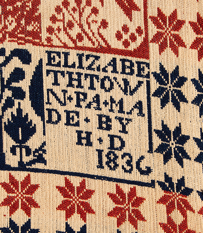 Woven Beiderwand Coverlet, Jacquard, Lilies & Stars Pattern, Bird & Bush Border, 1836 Elizabethtown, Pennsylvania, detail view 1