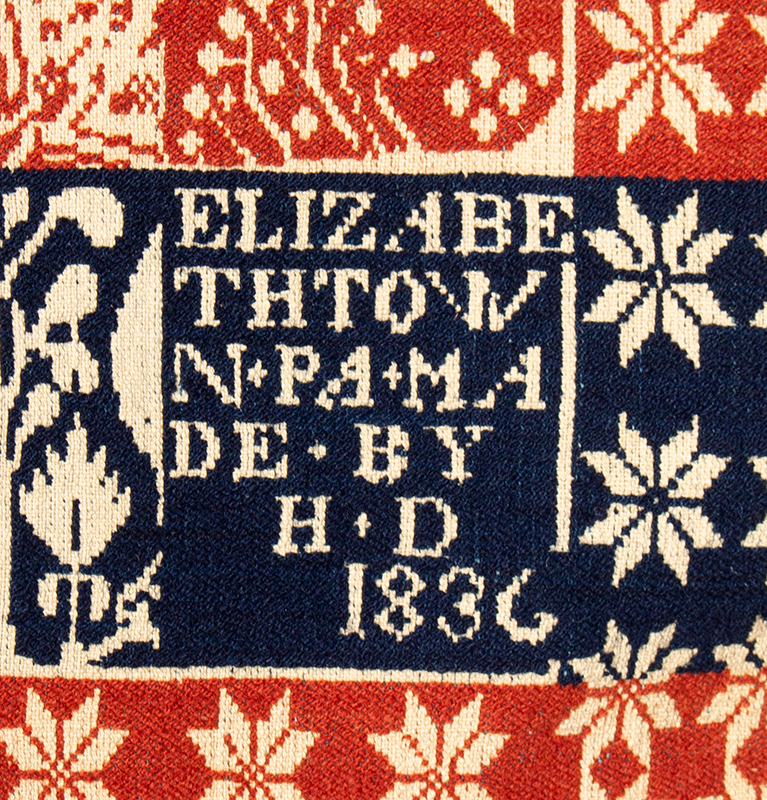 Woven Beiderwand Coverlet, Jacquard, Lilies & Stars Pattern, Bird & Bush Border, 1836 Elizabethtown, Pennsylvania, detail view 2