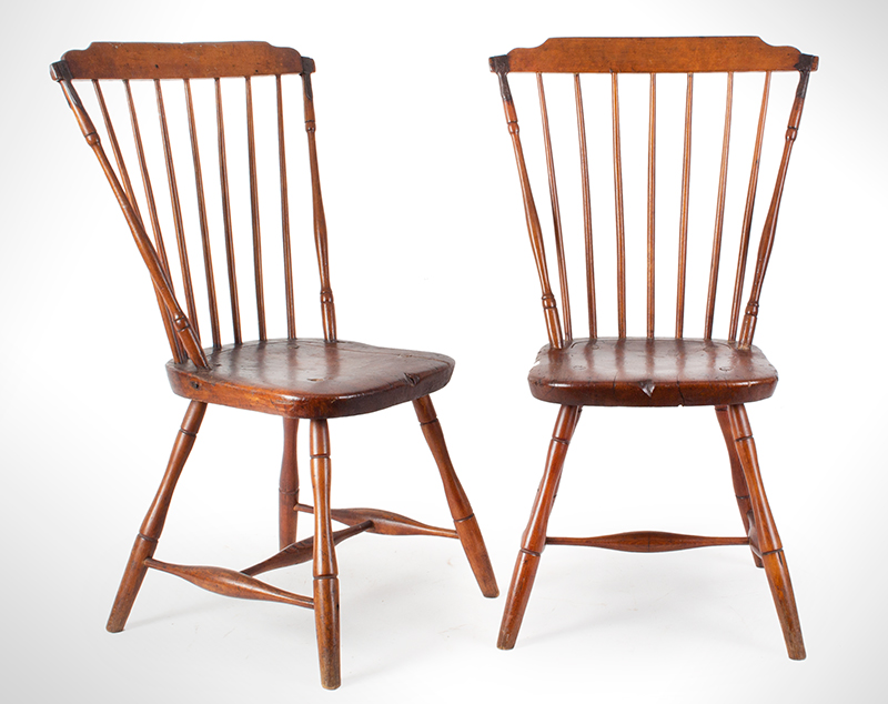 Pair, Windsor Side Chairs with Fabulous Wrought Iron Make-Do Repairs New England, entire view 1