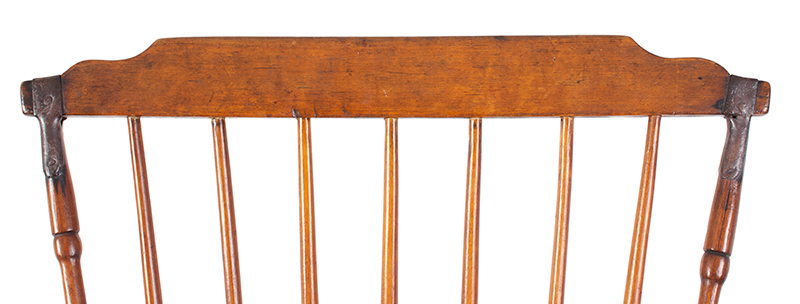 Pair, Windsor Side Chairs with Fabulous Wrought Iron Make-Do Repairs New England, detail view 2