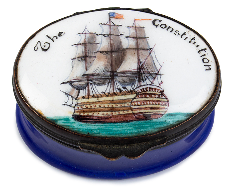 Enameled Patch Box, United States Frigate Constitution, Full Color, Rare, entire view 2