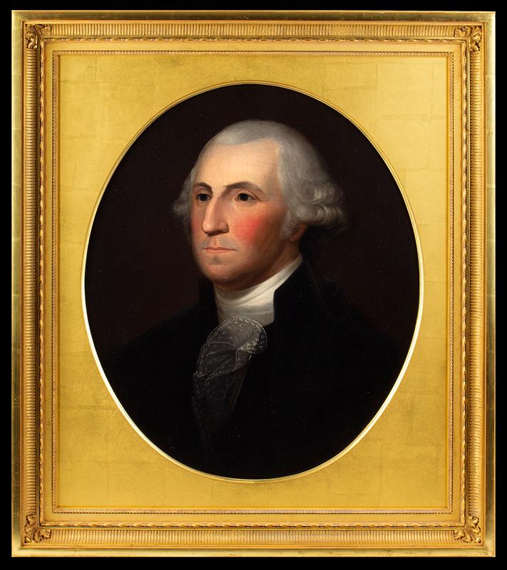 George Washington, A Superb Large Portrait by Philadelphia Artist Robert Street After Gilbert Stuart, entire view