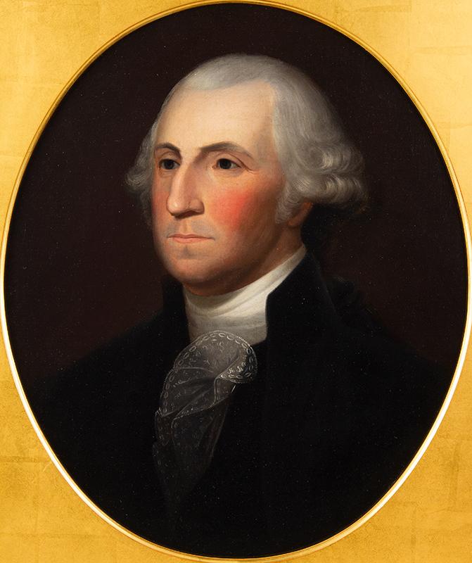George Washington, A Superb Large Portrait by Philadelphia Artist Robert Street After Gilbert Stuart, detail view