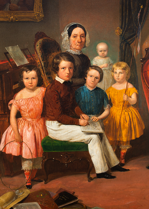 Julius Brutus Stearns (1810-1885) Family Group Portrait Within Domestic Interior Signed, dated, and inscribed (at lower left): J.B. Stearns N.Y. 1850, detail view 1