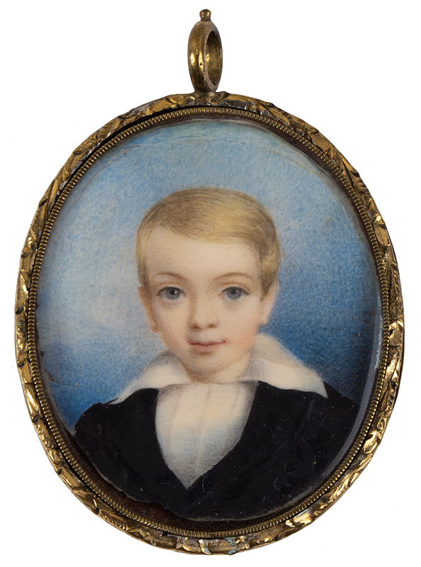 Miniature Portrait on Ivory in Locket, Young Boy, Signed: John Carlin (1813-1891), entire view