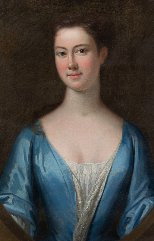 Joseph Blackburn, Portrait, Beautiful Young Lady in Blue, Sarah [Reade] de Peyster New York City, A Prominent New York Lady, entire view