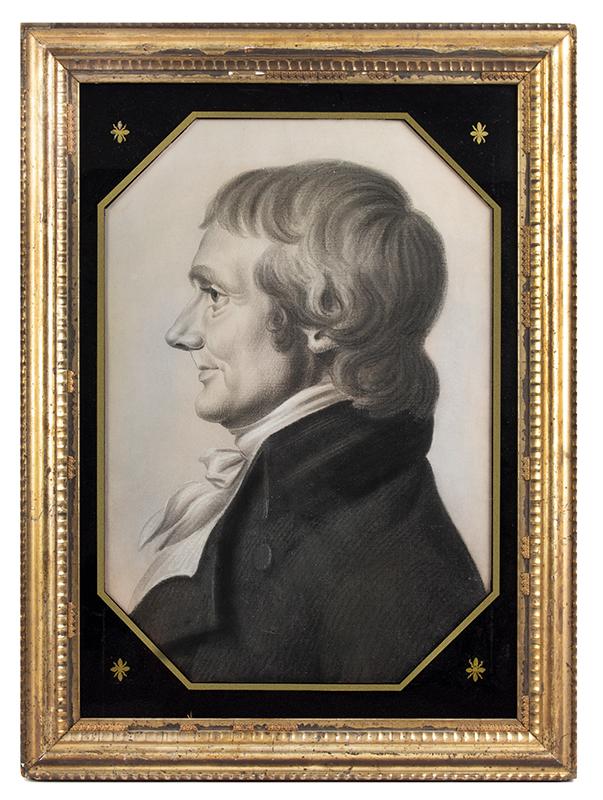 Profile Portrait of Gentleman in Profile, Confidently Attributed to Saint Memin Charles Balthazar Julien Févret de Saint-Mémin (1770-1852) French/American, entire view