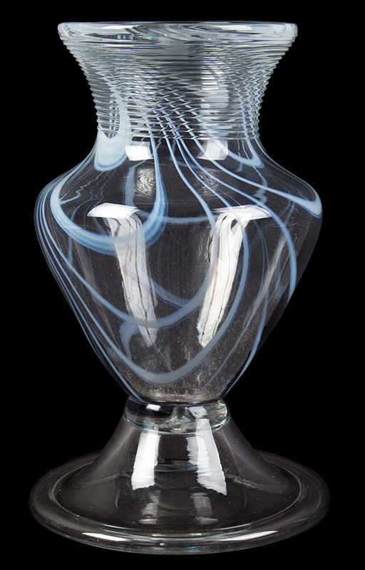 Free Blown Colorless Glass Vase, White Marbrie Decoration, Threading Pittsburgh, entire view