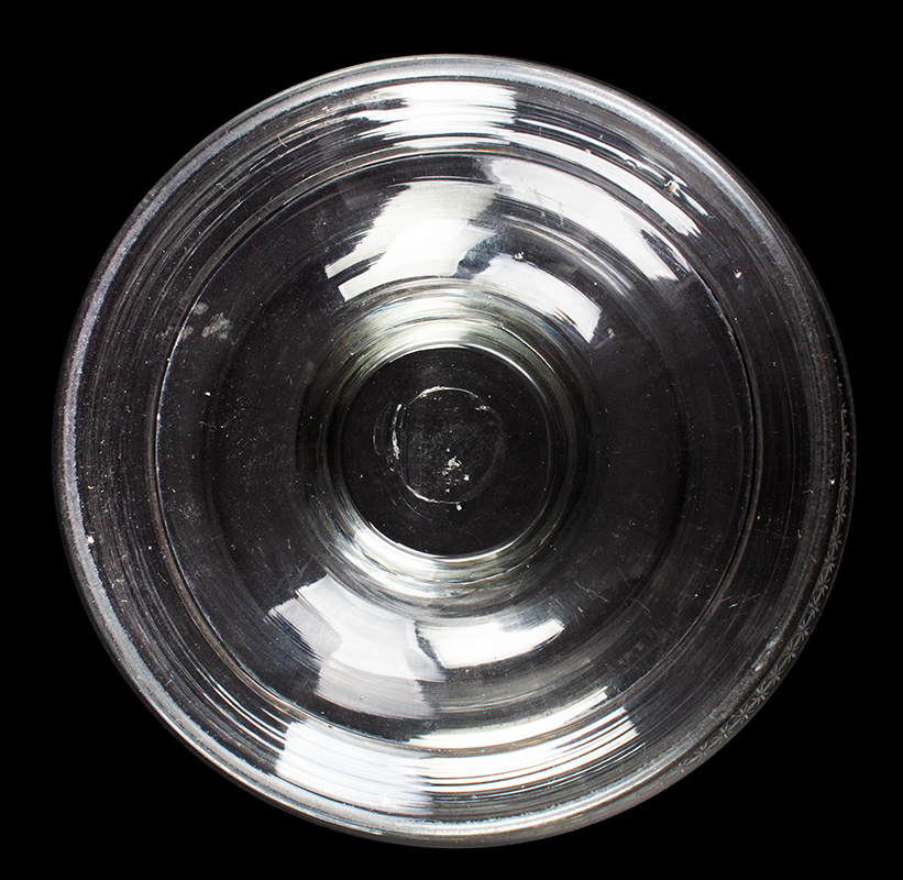 Rare Free Blown Colorless Glass Ogee Shaped Bowl, Compote, Copper Wheel Design, bottom view