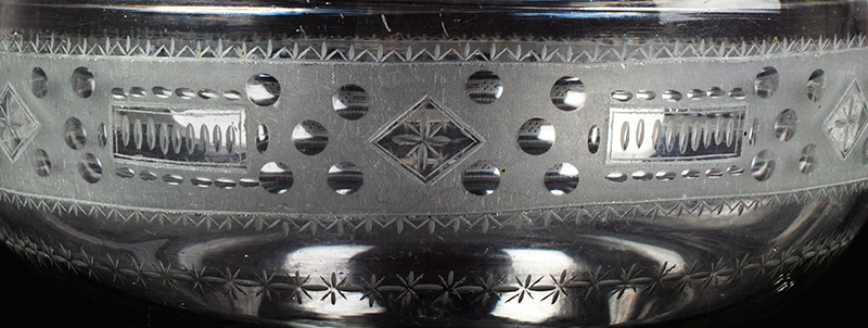 Rare Free Blown Colorless Glass Ogee Shaped Bowl, Compote, Copper Wheel Design, detail view