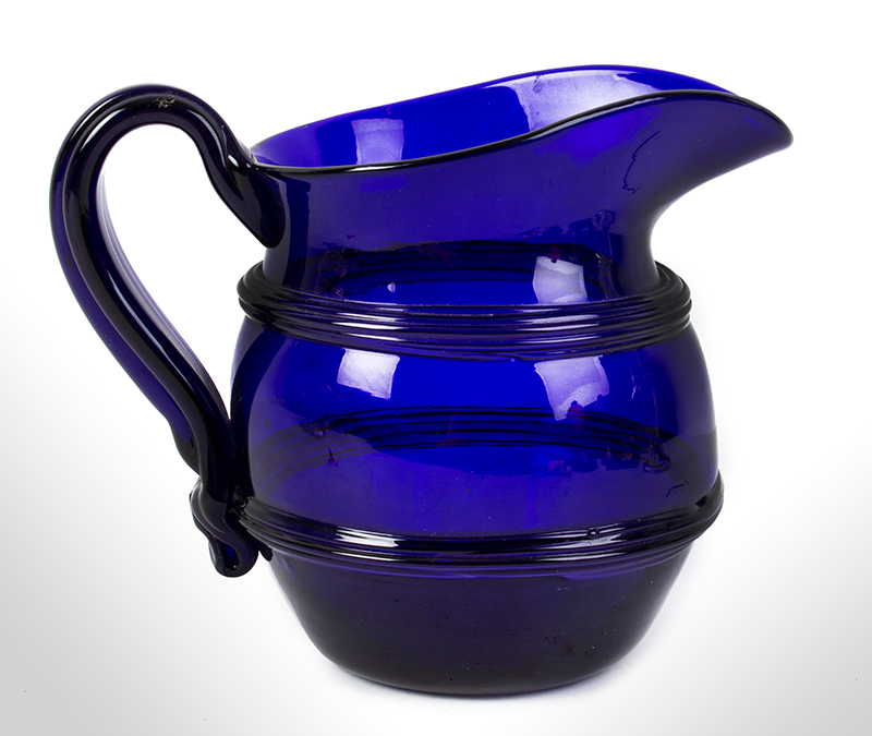 Free & Mold Blown Cobalt Lead Glass Water Pitcher, Ribbed Handle, Applied Bands Probably Boston, Possibly Thomas Cains, entire view 1