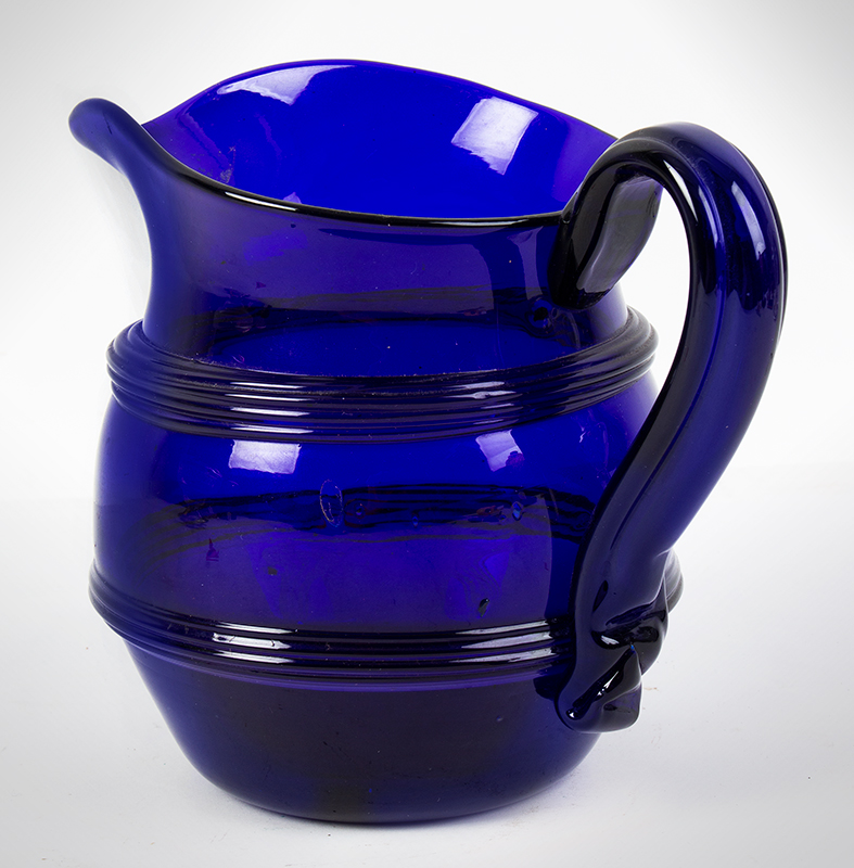 Free & Mold Blown Cobalt Lead Glass Water Pitcher, Ribbed Handle, Applied Bands Probably Boston, Possibly Thomas Cains, entire view 5