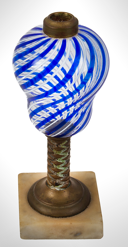 Sandwich Glass Co., Kerosene Lamp, Alternating Blue & White Latticinio Decoration, entire view 2