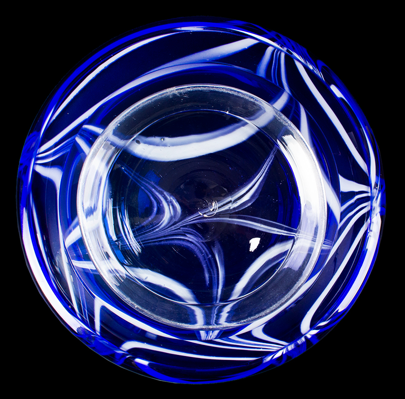 Free Blown Footed Bowl, Cased Cobalt Marbrie Decoration, Folded Rim, Applied Clear Foot American, top view