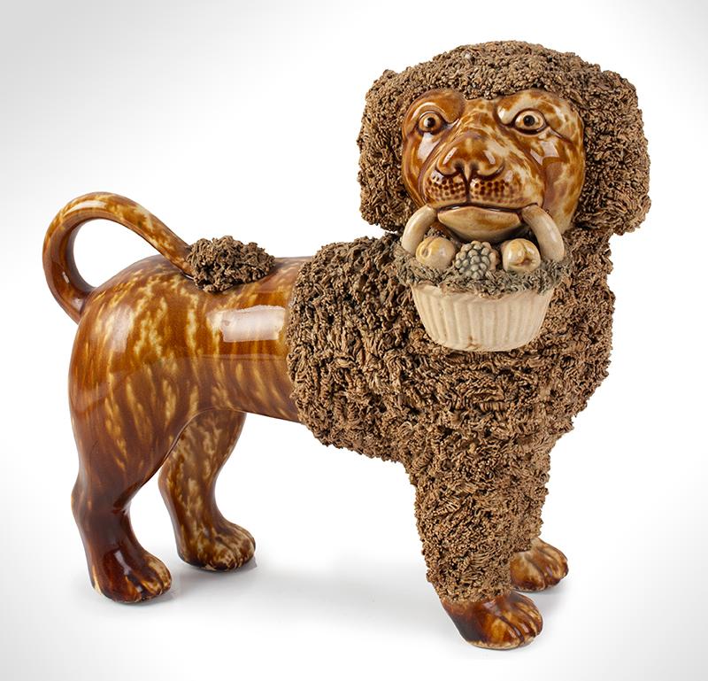 Bennington Pottery, Opposing Poodles, Pair, RARE & Mint, detail view