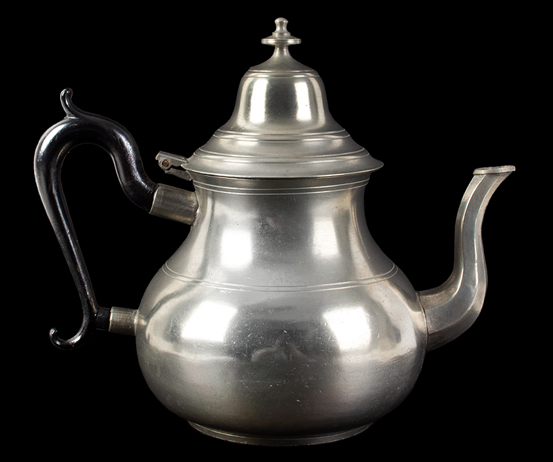 A Fine Eben Smith Pear Shape Pewter Teapot Beverly, Massachusetts, entire view 2