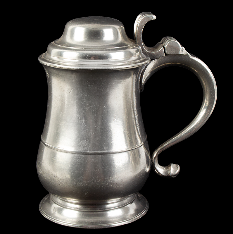 Ash and Hutton Tulip Form Dome-Lidded Pewter Tankard Ash & Hutton were pewterers working in Bristol, England from 1741-1768. They had a strong export market particularly in New England, entire view