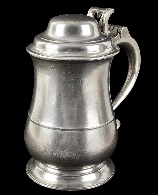 Ash and Hutton Tulip Form Dome-Lidded Pewter Tankard Ash & Hutton were pewterers working in Bristol, England from 1741-1768. They had a strong export market particularly in New England, entire view 2