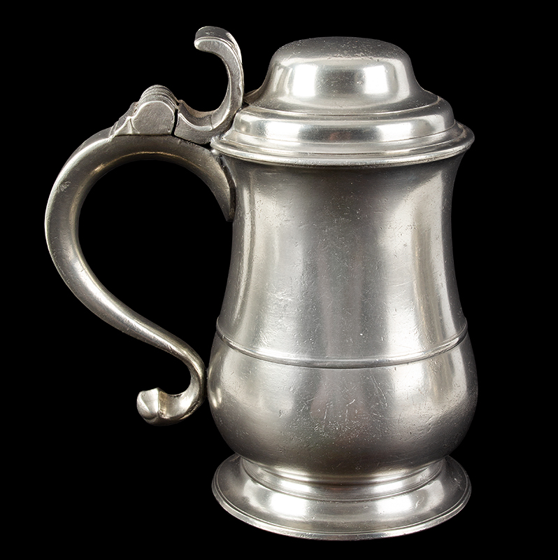 Ash and Hutton Tulip Form Dome-Lidded Pewter Tankard Ash & Hutton were pewterers working in Bristol, England from 1741-1768. They had a strong export market particularly in New England, entire view 3