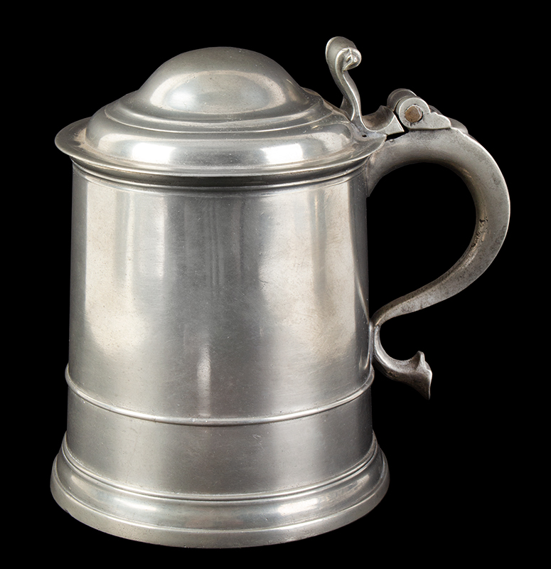 William Eddon Double Dome Lid Pewter Tankard, entire view