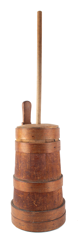 Early New England Butter Churn, Original Condition Including Plunger & Dasher, entire view 1