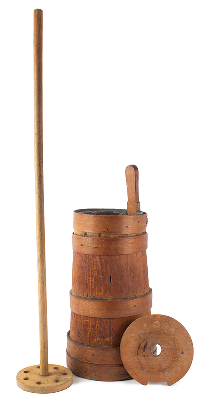 Early New England Butter Churn, Original Condition Including Plunger & Dasher, entire view 3