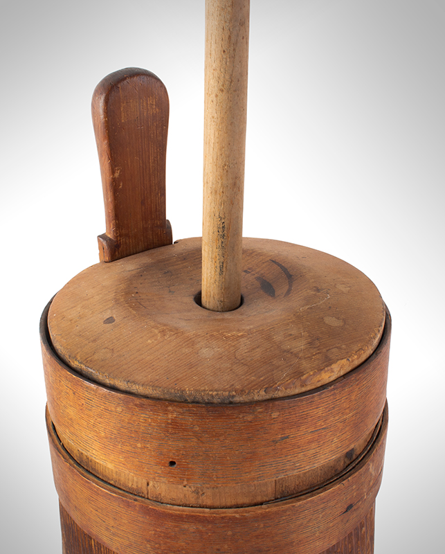 Early New England Butter Churn, Original Condition Including Plunger & Dasher, detail view 2