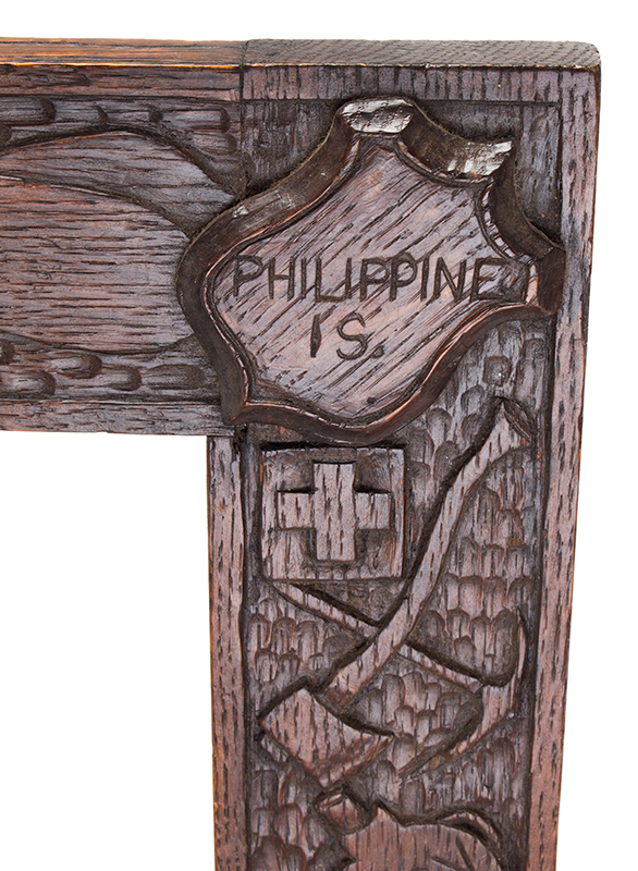 Relief Carved Picture Frame, Spanish American War, Naval Imagery, detail view 5