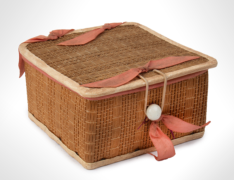 Shaker, Woven Poplar Work Box, Fine Leather, Satin Lined Stamped Trademark: Sabbathday Lake Shakers, Maine, entire view 1