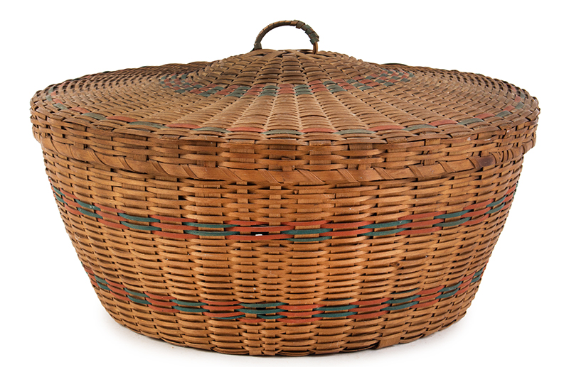 Native American Covered Sewing or Work Basket, entire view 1