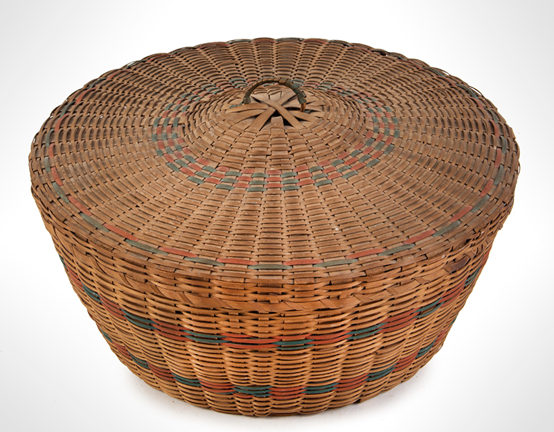 Native American Covered Sewing or Work Basket, entire view 2