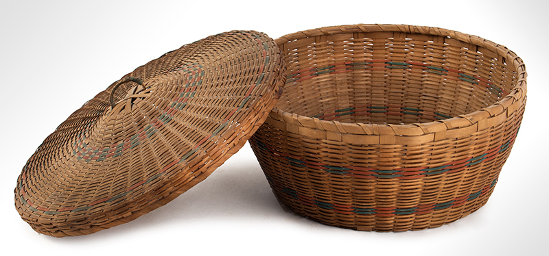 Native American Covered Sewing or Work Basket, entire view 3