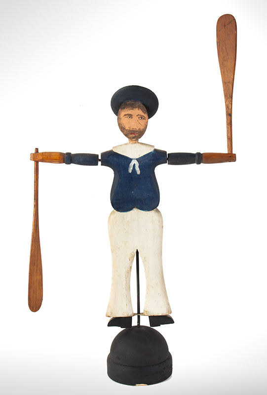Nantucket Sailor Whirligig, Likely by Harry Hilbert, Dewy Boy, Happy Jack Fine Original Condition Including Paint, entire view 1