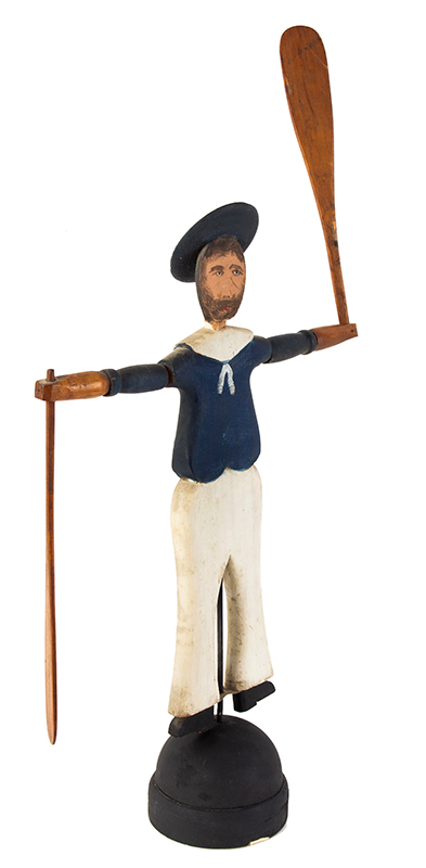 Nantucket Sailor Whirligig, Likely by Harry Hilbert, Dewy Boy, Happy Jack Fine Original Condition Including Paint, entire view 2