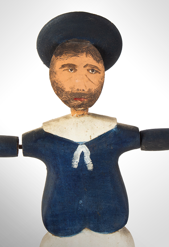 Nantucket Sailor Whirligig, Likely by Harry Hilbert, Dewy Boy, Happy Jack Fine Original Condition Including Paint, detail view