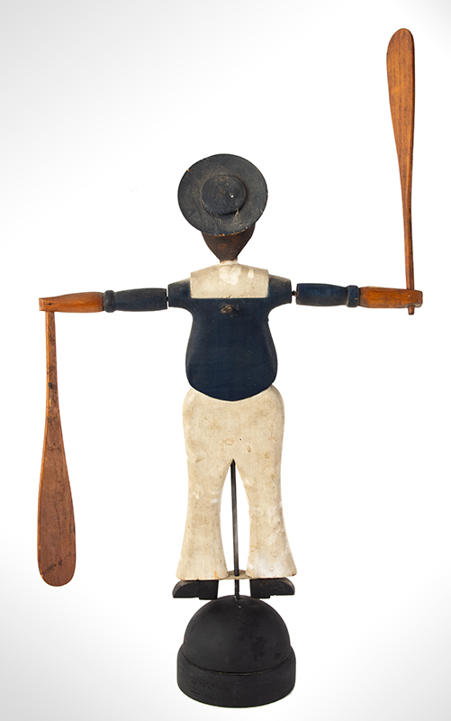 Nantucket Sailor Whirligig, Likely by Harry Hilbert, Dewy Boy, Happy Jack Fine Original Condition Including Paint, entire view 3