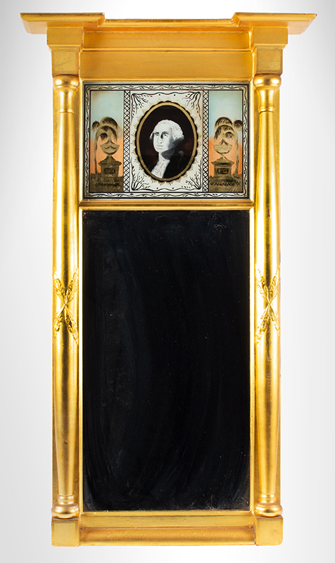 Federal Mirror, Mourning of George Washington, Eglomise Tablet, entire view