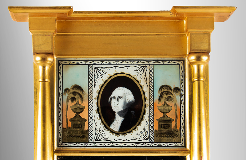 Federal Mirror, Mourning of George Washington, Eglomise Tablet, detail view 1