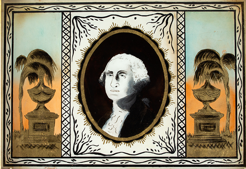 Federal Mirror, Mourning of George Washington, Eglomise Tablet, detail view 2