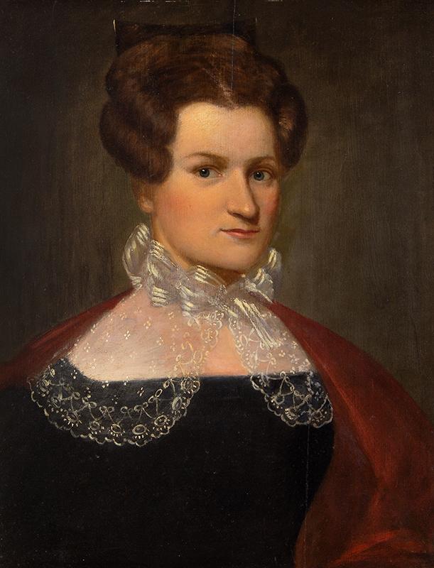 American School, 19th Century Portrait of Jerusha Spencer, Hartford, Connecticut, entire view sans frame
