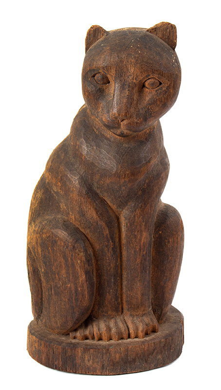 Carved Wood paper mache Mold, Cat Seated on Haunches, Rich Patina, entire view 1