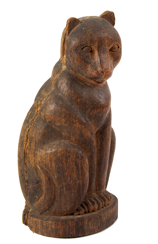 Carved Wood paper mache Mold, Cat Seated on Haunches, Rich Patina, entire view 2