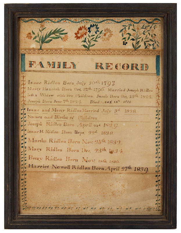 Maine, Ridlon Family Record, Watercolor on Paper, Buxton, and Baldwin, ME, entire view