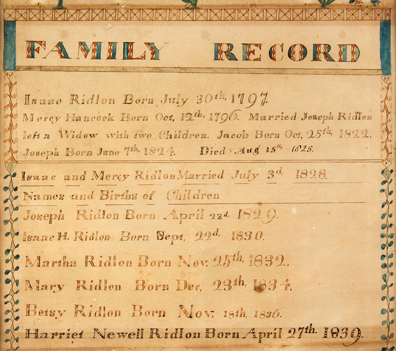 Maine, Ridlon Family Record, Watercolor on Paper, Buxton, and Baldwin, ME, detail view