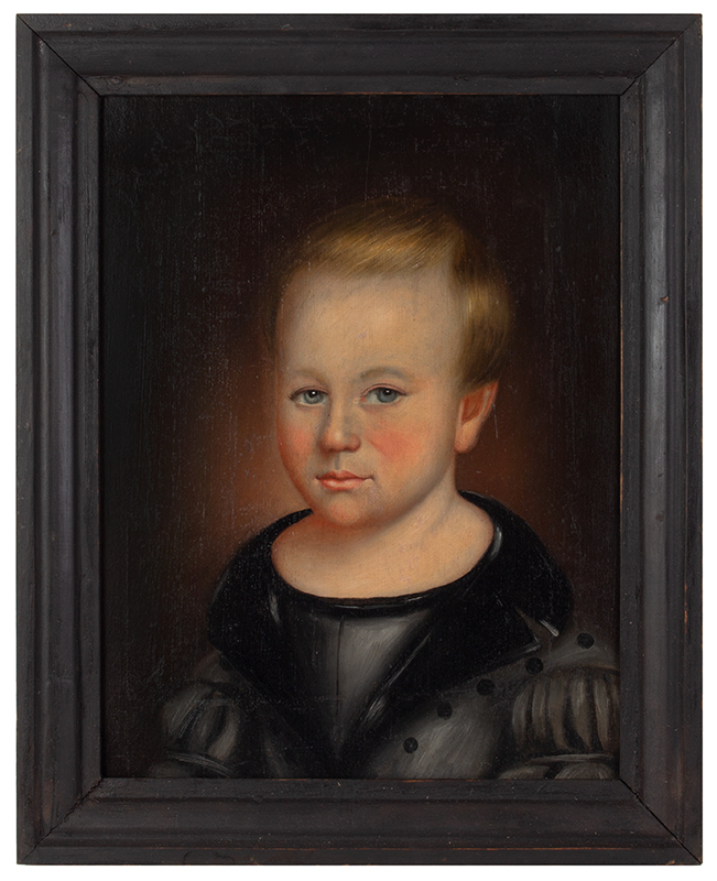 Thomas ware (b. 1803, d. 1826/27) Bust Length Portrait of Young Boy on Panel Vermont, entire view