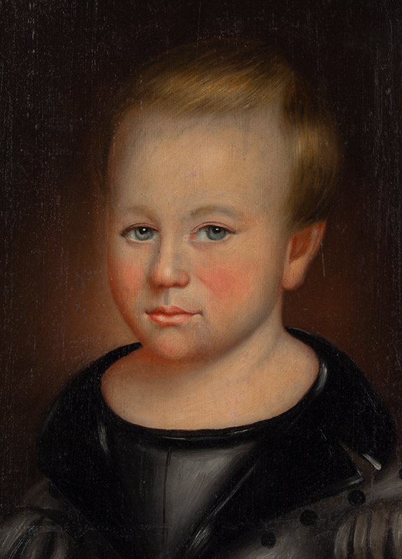 Thomas ware (b. 1803, d. 1826/27) Bust Length Portrait of Young Boy on Panel Vermont, entire view sans frame