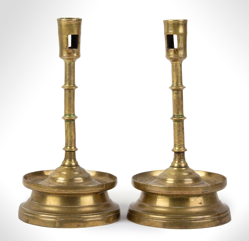 Extremely Rare MATCHED Pair of Gothic Three Knop Candlesticks on Medium High Skirts, entire view 1