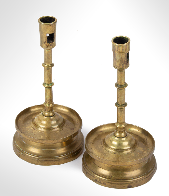 Extremely Rare MATCHED Pair of Gothic Three Knop Candlesticks on Medium High Skirts, entire view 2