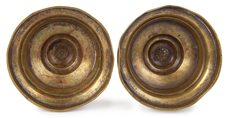 Extremely Rare MATCHED Pair of Gothic Three Knop Candlesticks on Medium High Skirts, bottom view